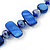Two Row Blue Shell And Glass Bead Necklace - 44cm L/ 6cm Ext - view 3