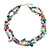 Two Row Multicoloured Shell And Glass Bead Necklace - 44cm L/ 6cm Extender