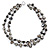 Two Row Black Shell Nugget and Transparent Glass Crystal Bead Necklace - 44cm L