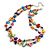 Two Row Multicoloured Shell Nugget and Nude-coloured Glass Crystal Bead Necklace - 44cm L/ 6cm Ext - view 2