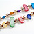 Two Row Multicoloured Shell Nugget and Nude-coloured Glass Crystal Bead Necklace - 44cm L/ 6cm Ext - view 4