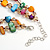 Two Row Multicoloured Shell Nugget and Nude-coloured Glass Crystal Bead Necklace - 44cm L/ 6cm Ext - view 6