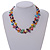 Two Row Multicoloured Shell Nugget and Nude-coloured Glass Crystal Bead Necklace - 44cm L/ 6cm Ext - view 3