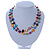 Two Row Multicoloured Shell Nugget and Nude-coloured Glass Crystal Bead Necklace - 44cm L/ 6cm Ext - view 7
