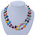 Two Row Multicoloured Shell Nugget and Nude-coloured Glass Crystal Bead Necklace - 44cm L/ 6cm Ext - view 8