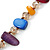 Two Row Multicoloured Shell Nugget and Nude-coloured Glass Crystal Bead Necklace - 44cm L/ 6cm Ext - view 11