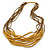 Dusty Yellow Wood and Bronze Glass Bead Multistrand Necklace - 80cm L