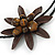 Brown Leather Semiprecious Stone Double Flower, Black Glass Bead Flex Wire Choker Necklace - Adjustable - view 3