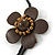 Brown Leather Semiprecious Stone Double Flower, Black Glass Bead Flex Wire Choker Necklace - Adjustable - view 4