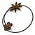 Brown Leather Semiprecious Stone Double Flower, Black Glass Bead Flex Wire Choker Necklace - Adjustable - view 6