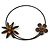 Brown Leather Semiprecious Stone Double Flower, Black Glass Bead Flex Wire Choker Necklace - Adjustable - view 7