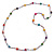 Long Multicoloured Tiny Round Glass and Cube Wood Bead Necklace - 126cm L - view 6