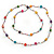 Long Multicoloured Tiny Round Glass and Cube Wood Bead Necklace - 126cm L - view 7