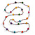 Long Multicoloured Tiny Round Glass and Cube Wood Bead Necklace - 126cm L