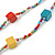 Long Multicoloured Tiny Round Glass and Cube Wood Bead Necklace - 126cm L - view 3