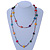 Long Multicoloured Tiny Round Glass and Cube Wood Bead Necklace - 126cm L - view 5