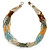 Multistrand Light Blue/Gold/ Antique White/ Brown Glass Bead Necklace - 50cm L - view 4