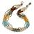 Multistrand Light Blue/Gold/ Antique White/ Brown Glass Bead Necklace - 50cm L