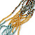 Multistrand Light Blue/Gold/ Antique White/ Brown Glass Bead Necklace - 50cm L - view 3