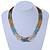 Multistrand Light Blue/Gold/ Antique White/ Brown Glass Bead Necklace - 50cm L - view 2