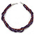 Deep Purple Square Wood And Metallic Violet Off Round Glass Bead Multistrand Twisted Necklace In Silver Tone - 44cm L - view 5