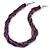 Deep Purple Square Wood And Metallic Violet Off Round Glass Bead Multistrand Twisted Necklace In Silver Tone - 44cm L