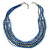 Multistrand Blue/ Teal Glass Bead Collar Style Necklace In Silver Tone Metal - 42cm L/ 4cm Ext - view 6