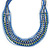 Multistrand Blue/ Teal Glass Bead Collar Style Necklace In Silver Tone Metal - 42cm L/ 4cm Ext - view 5