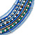 Multistrand Blue/ Teal Glass Bead Collar Style Necklace In Silver Tone Metal - 42cm L/ 4cm Ext - view 3