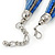 Multistrand Blue/ Teal Glass Bead Collar Style Necklace In Silver Tone Metal - 42cm L/ 4cm Ext - view 4