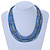 Multistrand Blue/ Teal Glass Bead Collar Style Necklace In Silver Tone Metal - 42cm L/ 4cm Ext - view 2