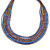 Multistrand Purple/ Bronze/ Violet Blue Glass Bead Collar Style Necklace In Silver Tone Metal - 42cm L/ 4cm Ext - view 6
