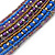 Multistrand Purple/ Bronze/ Violet Blue Glass Bead Collar Style Necklace In Silver Tone Metal - 42cm L/ 4cm Ext - view 3