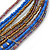 Multistrand Purple/ Bronze/ Violet Blue Glass Bead Collar Style Necklace In Silver Tone Metal - 42cm L/ 4cm Ext - view 5