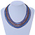 Multistrand Purple/ Bronze/ Violet Blue Glass Bead Collar Style Necklace In Silver Tone Metal - 42cm L/ 4cm Ext - view 2