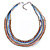 Multistrand White/ Coral/ Blue/ Bronze Glass Bead Collar Style Necklace In Silver Tone Metal - 42cm L/ 4cm Ext