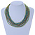 Multistrand Green Glass Bead Collar Style Necklace In Silver Tone Metal - 42cm L/ 4cm Ext - view 2