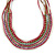 Multistrand White/ Raspberry/ Purple/ Turquoise Glass Bead Collar Style Necklace In Silver Tone Metal - 42cm L/ 4cm Ext - view 6