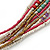 Multistrand White/ Raspberry/ Purple/ Turquoise Glass Bead Collar Style Necklace In Silver Tone Metal - 42cm L/ 4cm Ext - view 5