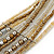 Multistrand Bronze/ Metallic Silver/ Transparent Glass Bead Collar Style Necklace In Silver Tone Metal - 42cm L/ 4cm Ext - view 5
