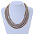 Multistrand Bronze/ Metallic Silver/ Transparent Glass Bead Collar Style Necklace In Silver Tone Metal - 42cm L/ 4cm Ext - view 2