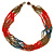 Multistrand Red/ Bronze/ Peacock Glass Bead Necklace - 47cm L - view 6