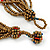 Multistrand Red/ Bronze/ Peacock Glass Bead Necklace - 47cm L - view 4