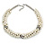 White/ Hematite Glass Pearl Bead Cluster Necklace In Silver Tone - 53cm L/ 7cm Ext - view 5