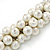 White/ Hematite Glass Pearl Bead Cluster Necklace In Silver Tone - 53cm L/ 7cm Ext - view 6