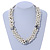 White/ Hematite Glass Pearl Bead Cluster Necklace In Silver Tone - 53cm L/ 7cm Ext - view 2