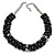 Black/ Grey Glass Pearl Bead Cluster Necklace In Silver Tone - 53cm L/ 7cm Ext