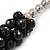 Black/ Grey Glass Pearl Bead Cluster Necklace In Silver Tone - 53cm L/ 7cm Ext - view 3