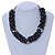 Black/ Grey Glass Pearl Bead Cluster Necklace In Silver Tone - 53cm L/ 7cm Ext - view 2