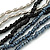 Long Multistrand Black, Grey, Hematite Glass/ Acrylic Bead Necklace - 90cm L - view 3